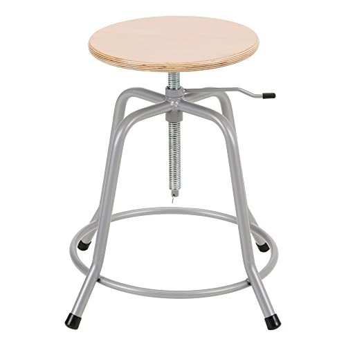 Norwood Commercial Furniture NOR-NOR1031-SO Stool W Wood Swivel Seat Locking Stability Pin, Grey