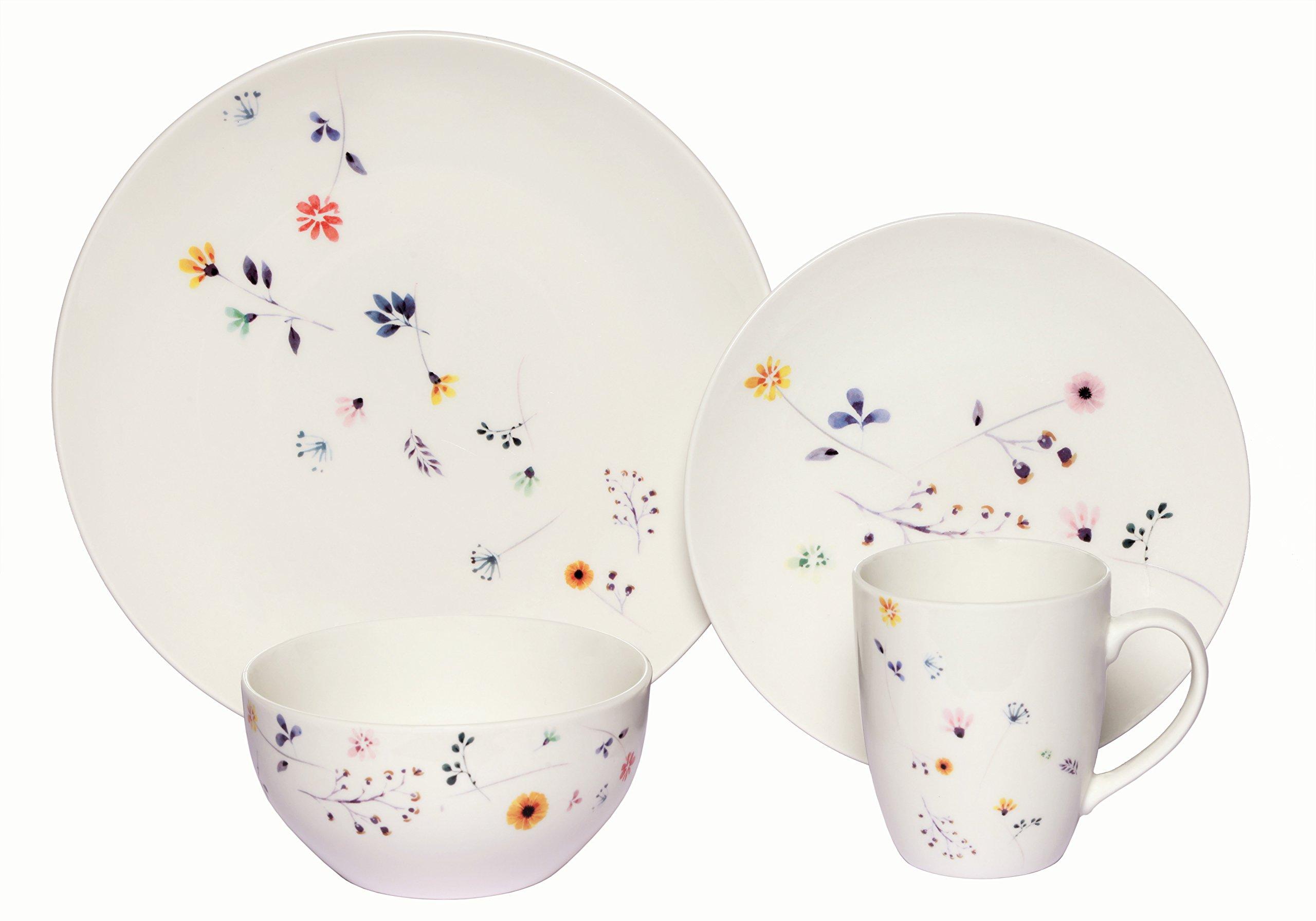 Melange Coupe 32-Piece Porcelain Dinnerware Set (Scattered Wildflowers) | Service for 8 | Microwave, Dishwasher & Oven Safe | Dinner Plate, Salad Plate, Soup Bowl & Mug (8 Each)