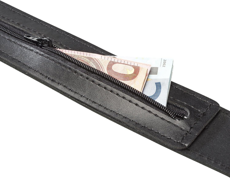 INVIDA Uomo Cassaforte Tresure con scomparto segreto Nero cintura 4/cm larghezza