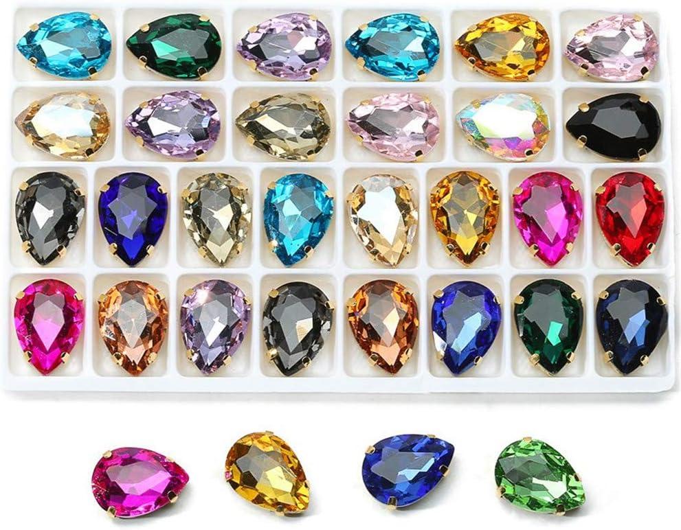 50 x Blue Sew on Acrylic Tear Drop Diamante Crystal Gems Rhinestone 7x15mm #1