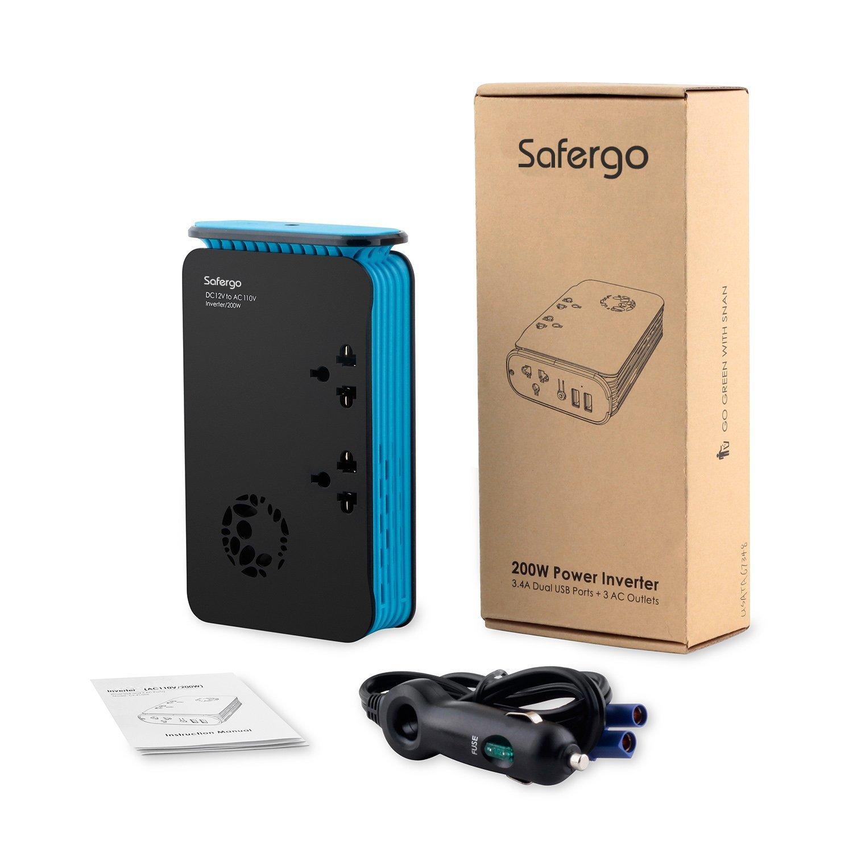Safergo Ultra-Slim 200W Car Power Inverter DC 12V to AC 110V with 3 on