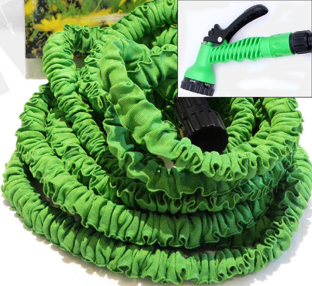 50 Ft New Latex Expanding Flexible Garden Water Hose With Spray Nozzle In Green