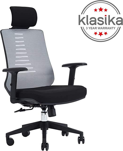Executive Office Mesh Chair Fabric Ergonomic Adjustable Height Middle Back