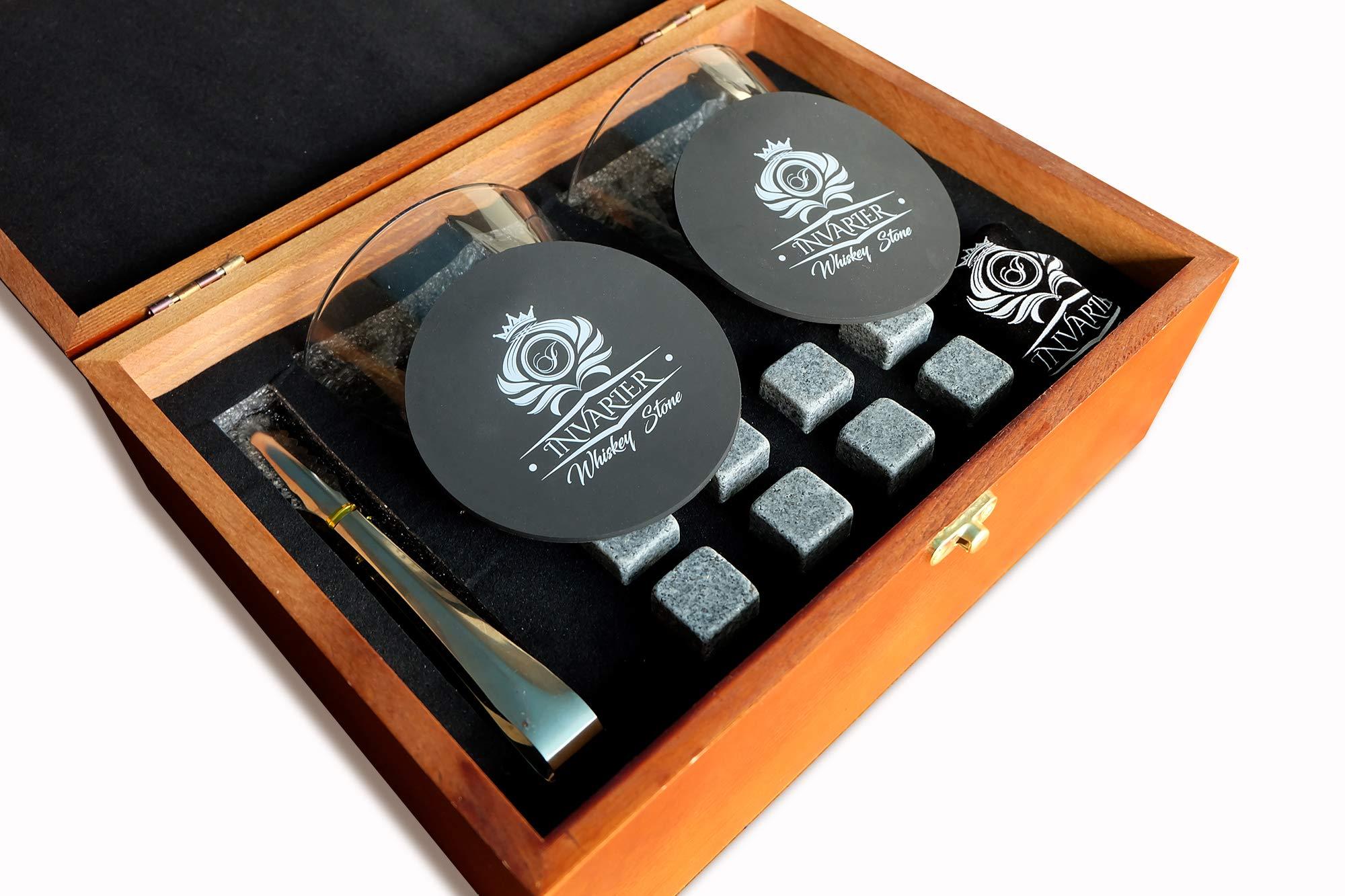 Whiskey Stones and Glass Gift Set - 8 Reusable Granite Chilling Rocks, 2 Large Whiskey Glasses, 2 Coaster, Velvet Pouch & Tongs in Elegant Wooden Box