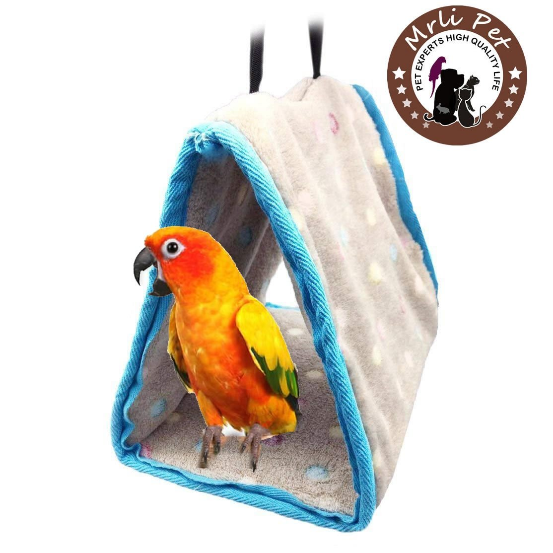 Parrot Perch Tents, Mrlipet Winter Warm Bird Nest House Plush Hammock Hanging Cave Happy Hut Hideaway for Macaw African Grey Amazon Eclectu Parakeet Cockatiels Cockatoo Conure Lovebird Cage Toys Mrli Pet