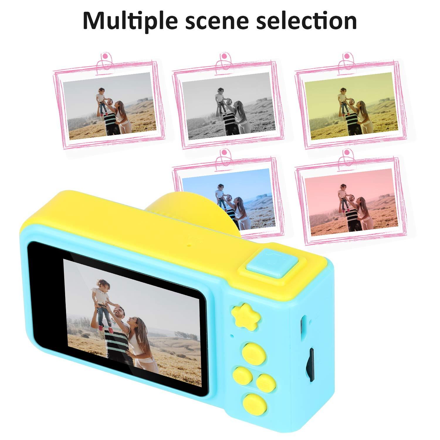 LOXROZ Kids Digital Camera Mini 2 Inch Screen Children's Digital Camera with Card Reader & 16G Micro SD Card (Blue) by LOXROZ (Image #4)