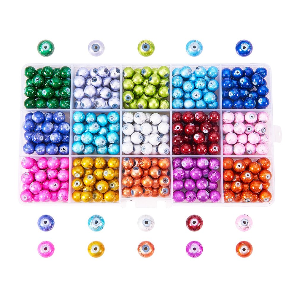 Pandahall 1 Box (about 200pcs) 10 Color Handcrafted Crackle Lampwork Glass Round Beads Assortment Lot for Jewelry Making, 8mm, Hole: 1.3mm PH PandaHall wh-CCG-X0006-B