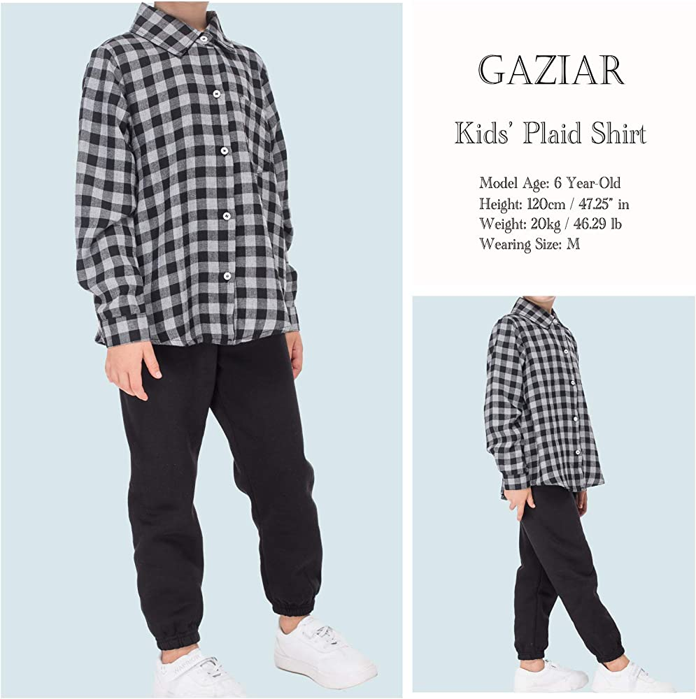 Kungfu ant Kids Girls Boys Casual Cotton Western Long Sleeve Button Down Plaid Shirt with Pocket for 2t-10 Age