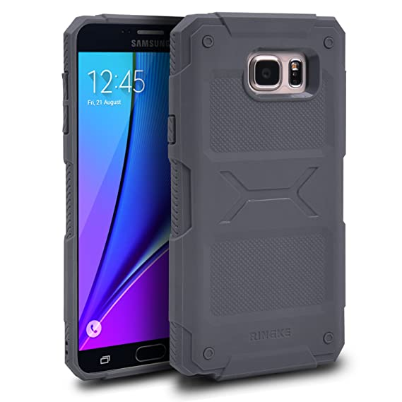 half off ab1d2 a1859 Galaxy Note 5 Case, Ringke REBEL [Gray] Ergonomic Design [Free Screen  Protector] Anti-Slip Grip Improved Strength Resilient Rugged Defensive TPU  Shock ...