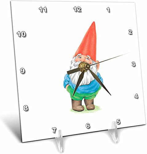 3dRose dc_123988_1 Gnome Garden Gnome Cartoon Elf Desk Clock, 6 by 6-Inch