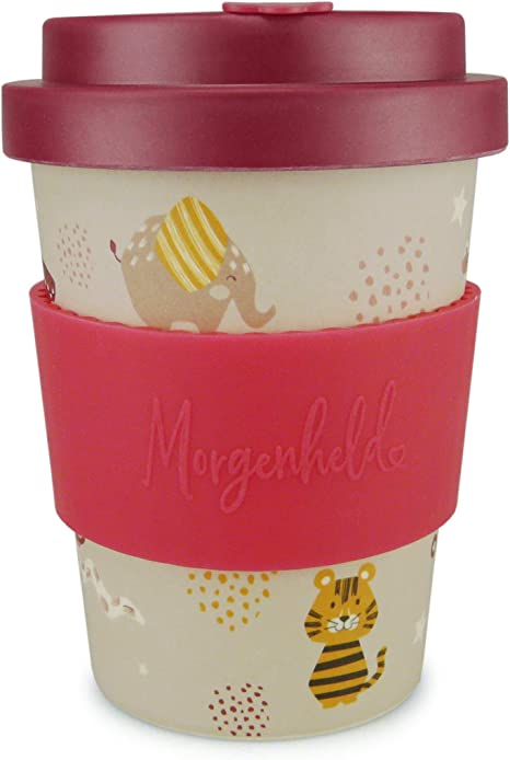 Morgenheld Your Trendy Bamboo Cup Coffee To Go Cup Coffee Cup A Cool Design With Screw Cover And Silicone Banderole 350ml Kids Girl