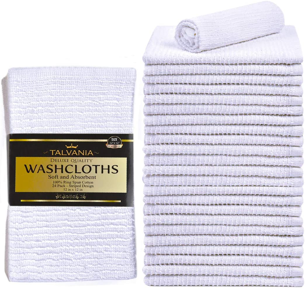 Talvania White Cotton Washcloths - Pack of 24 - Super Absorbent Ribbed Terry Towels Ideal for Body Scrub Gym Spa Multi-Purpose Home Kitchen Cleaning Towel - 12 X 12 Wash Cloth - 100% Ring Spun Cotton: Kitchen & Dining