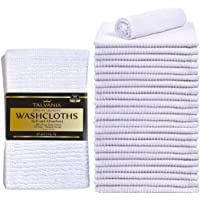 Talvania White Cotton Washcloths - Pack of 24 - Super Absorbent Ribbed Terry Towels Ideal for Body Scrub Gym Spa Multi-Purpose Home Kitchen Cleaning Towel - 12 X 12 Wash Cloth - 100% Ring Spun Cotton