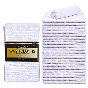 "TALVANIA Washcloths Towels Wash Cloth Super Absorbent Ribbed Terry White Towel 100% Ring Spun Cotton Ideal for Body Scrub Long Lasting Multi-Purpose Gym Spa Home Kitchen Cleaning Towel 24 Pack 12""X12"""