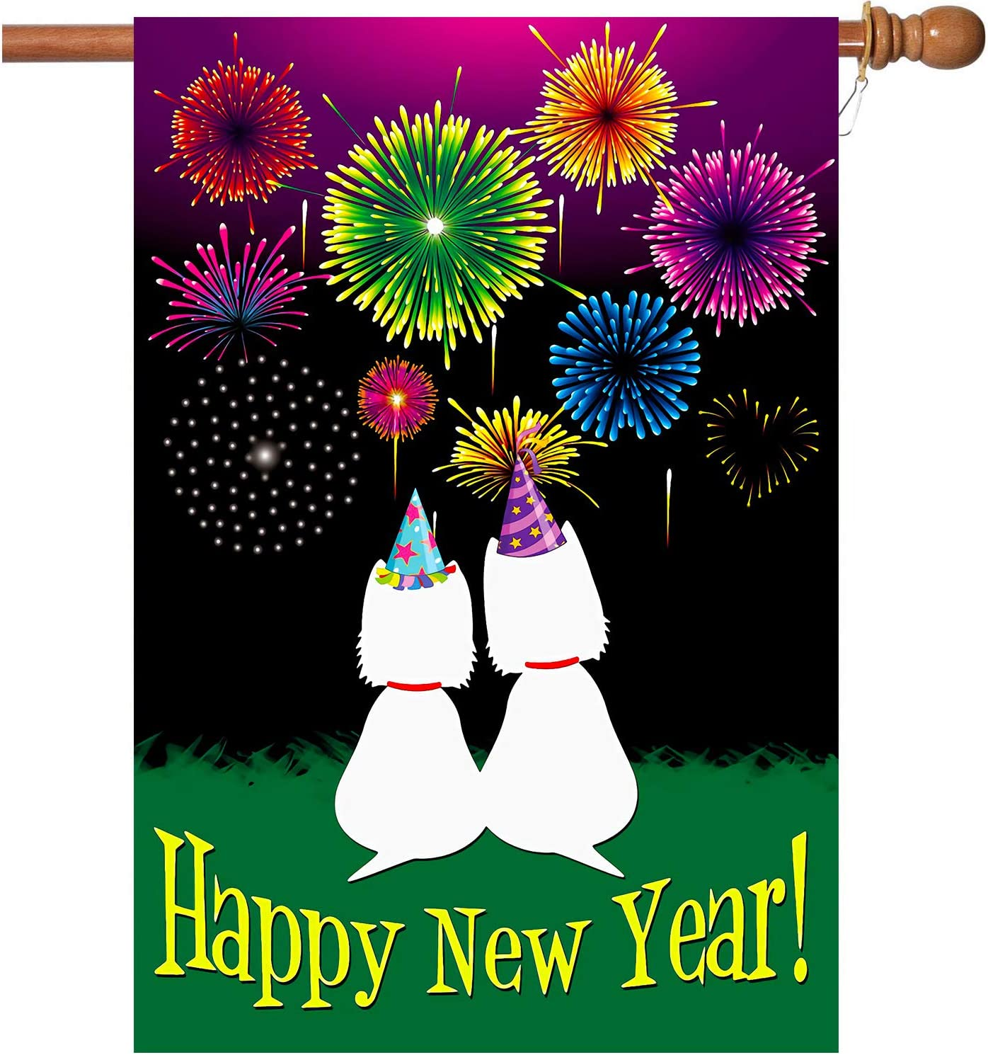 W&X New Years Flag,Happy New Year Garden Flag with Two Grommets 28x40 Inch Double Sided Printing 2 Layer Burlap Valentine Flags for New Year Decoration