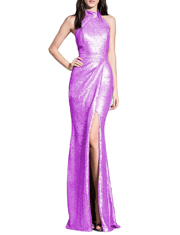purplec YSMei Women's Long Sequins Halter Evening Prom Dress Split Party Gowns YSQ90