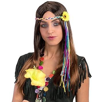 Carnival Toys 2416 Peluca Hippie, marrón, One Size