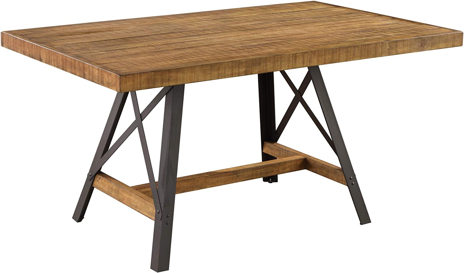 Joey 60 Dining Table in Gingersnap with Rustic Plank Top And Metal Base, by Artum Hill