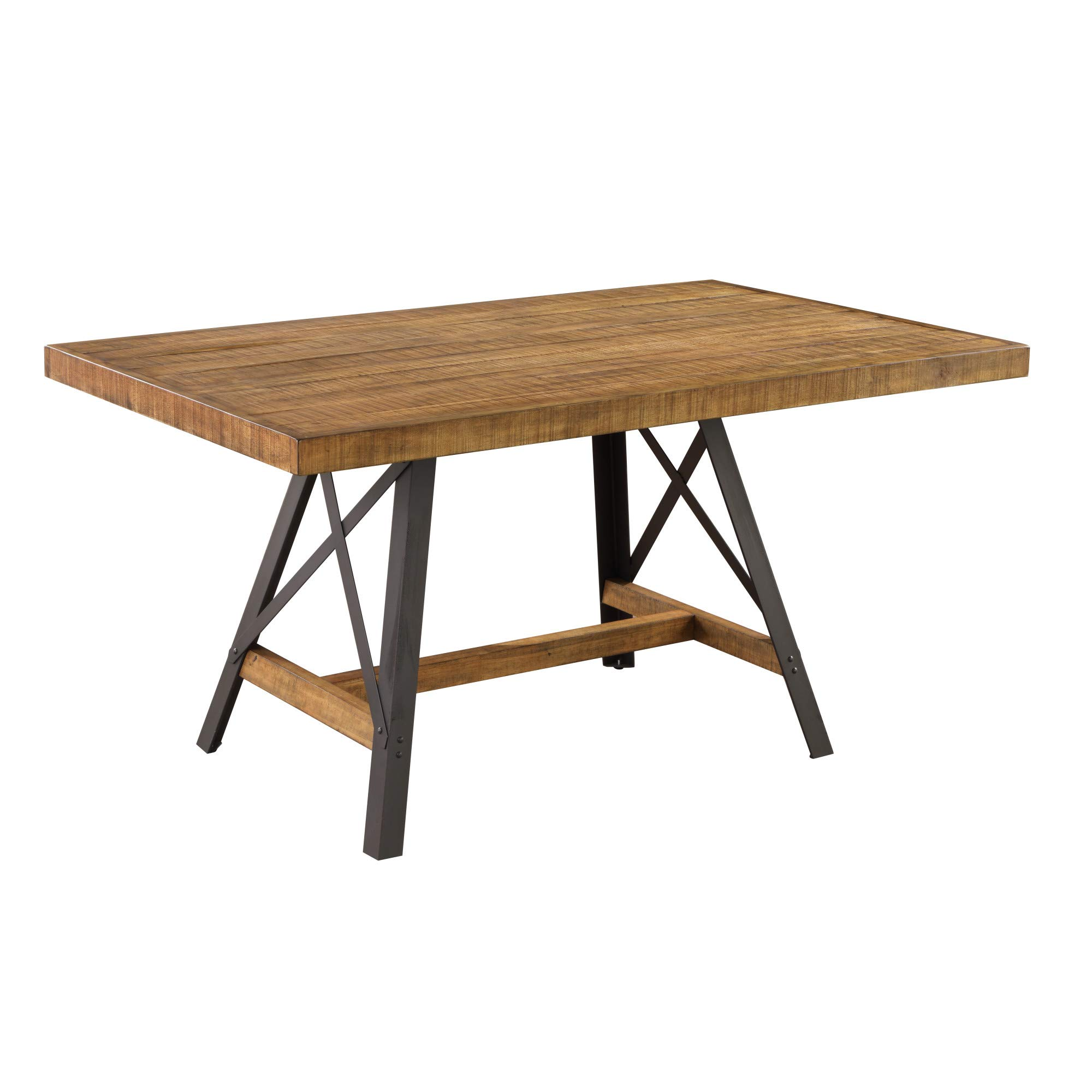 Joey 60'' Dining Table in Gingersnap with Rustic Plank Top And Metal Base, by Artum Hill by Artum Hill