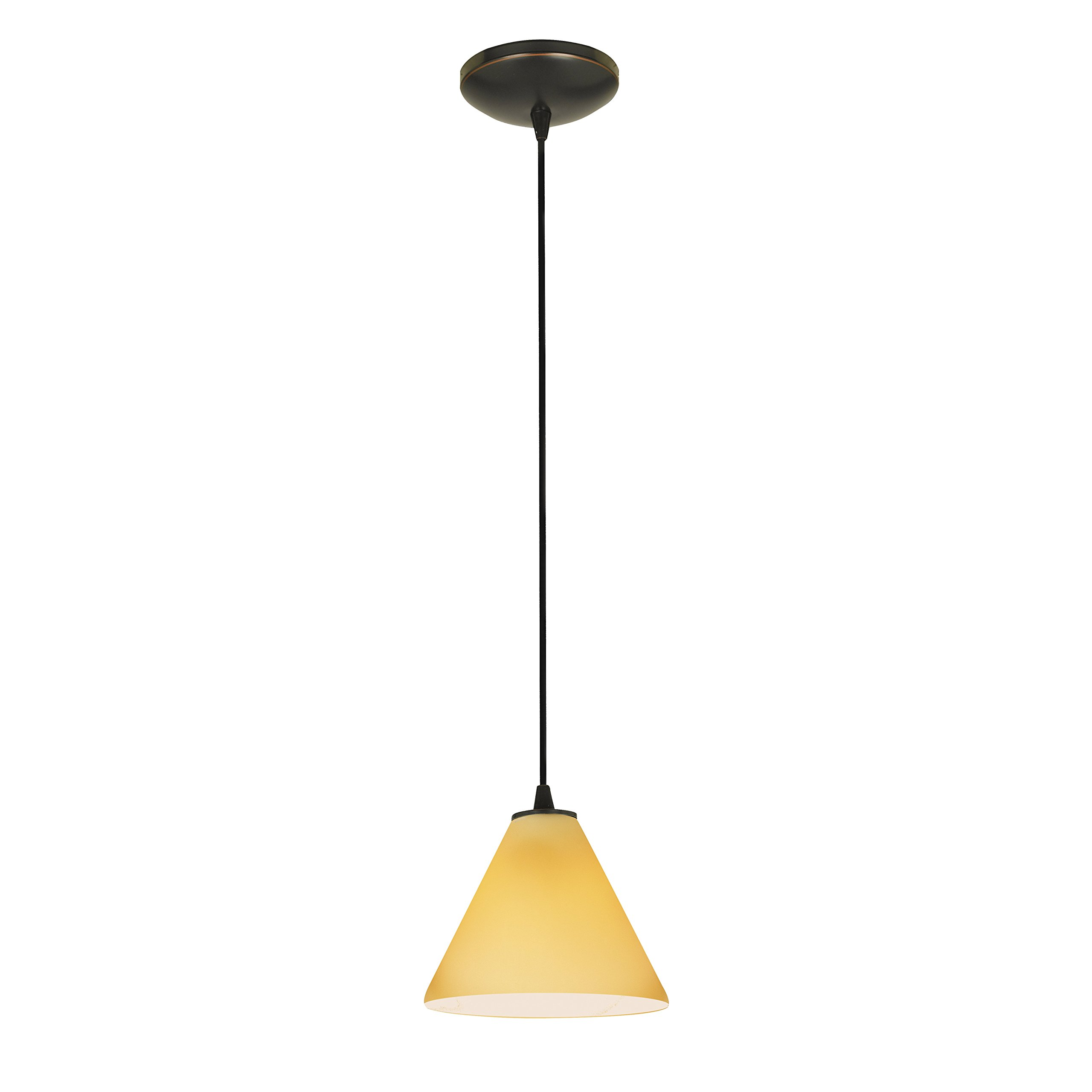Martini - E26 LED Cord Pendant - Oil Rubbed Bronze Finish - Amber Glass Shade