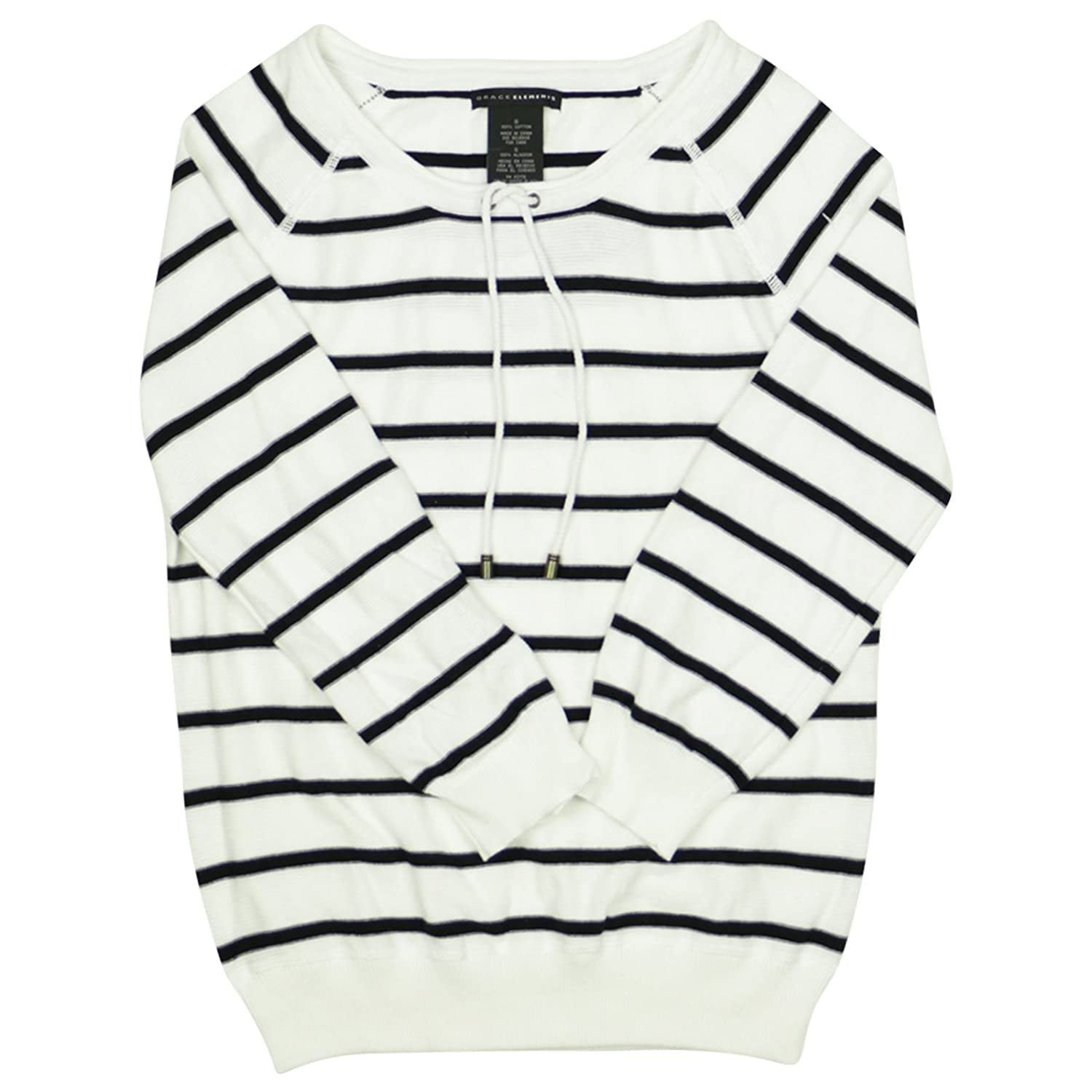 Grace Elements Womens Long Sleeve Striped Pullover Top