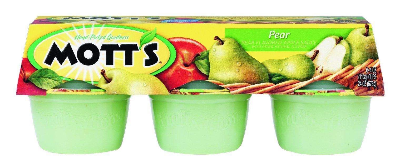 Mott's, Pear Applesauce, 6 - 4oz Cups, 24oz Package (Pack of 4)