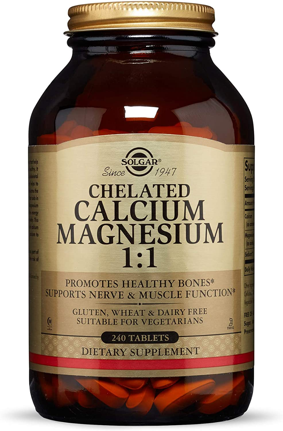 Solgar Chelated Calcium Magnesium 1:1, 240 Tablets - Promotes Healthy Bones - Supports Nerve & Muscle Function - Non-GMO, Vegan, Gluten Free, Dairy Free, Kosher, Halal - 60 Servings