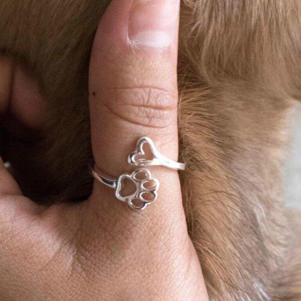 Qvwanle Sleek Minimalist Opening Adjustable Ring Creative Hollow Love Dog Claw Ring
