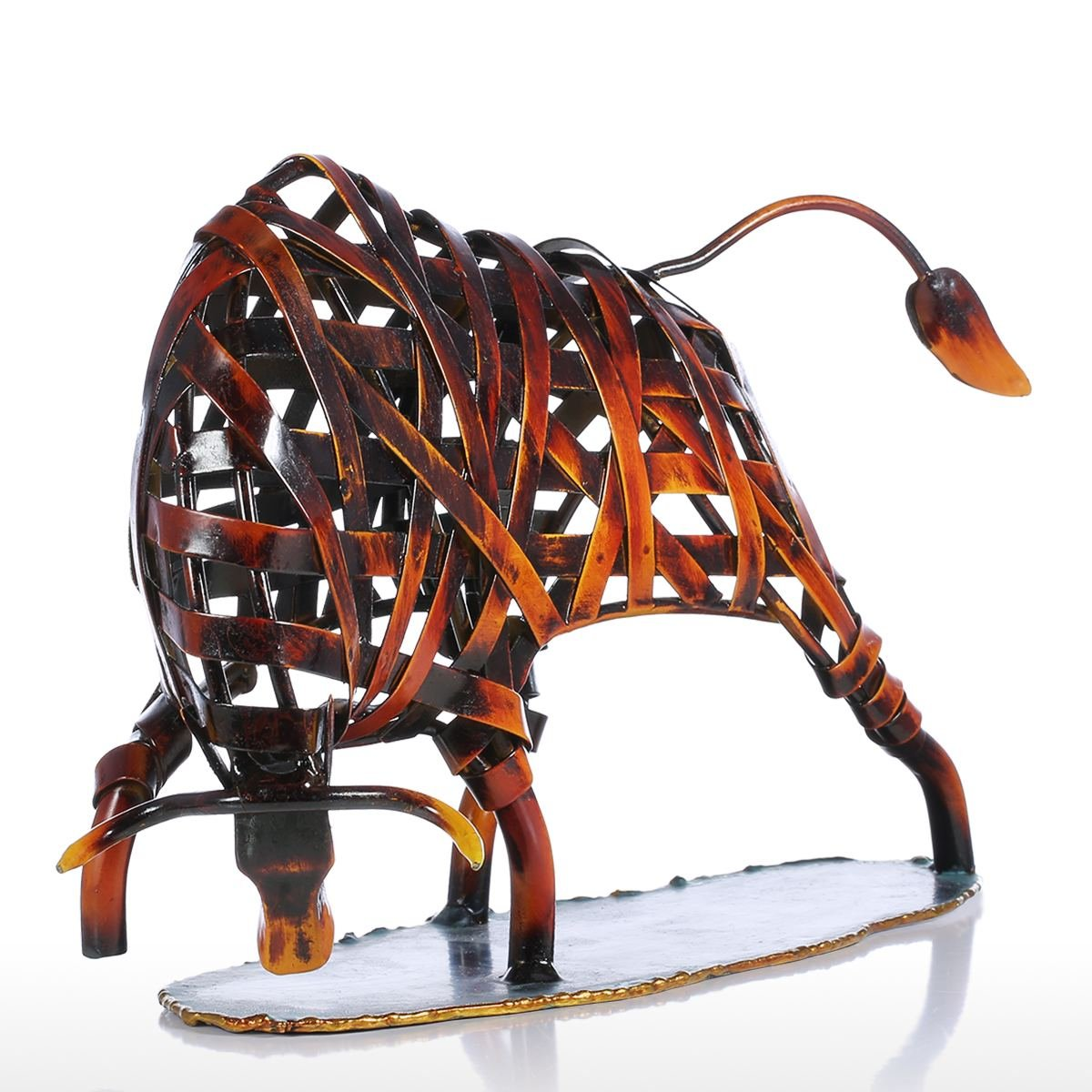 Tooarts Metal Weaving Cattle Red Iron Sculpture Abstract
