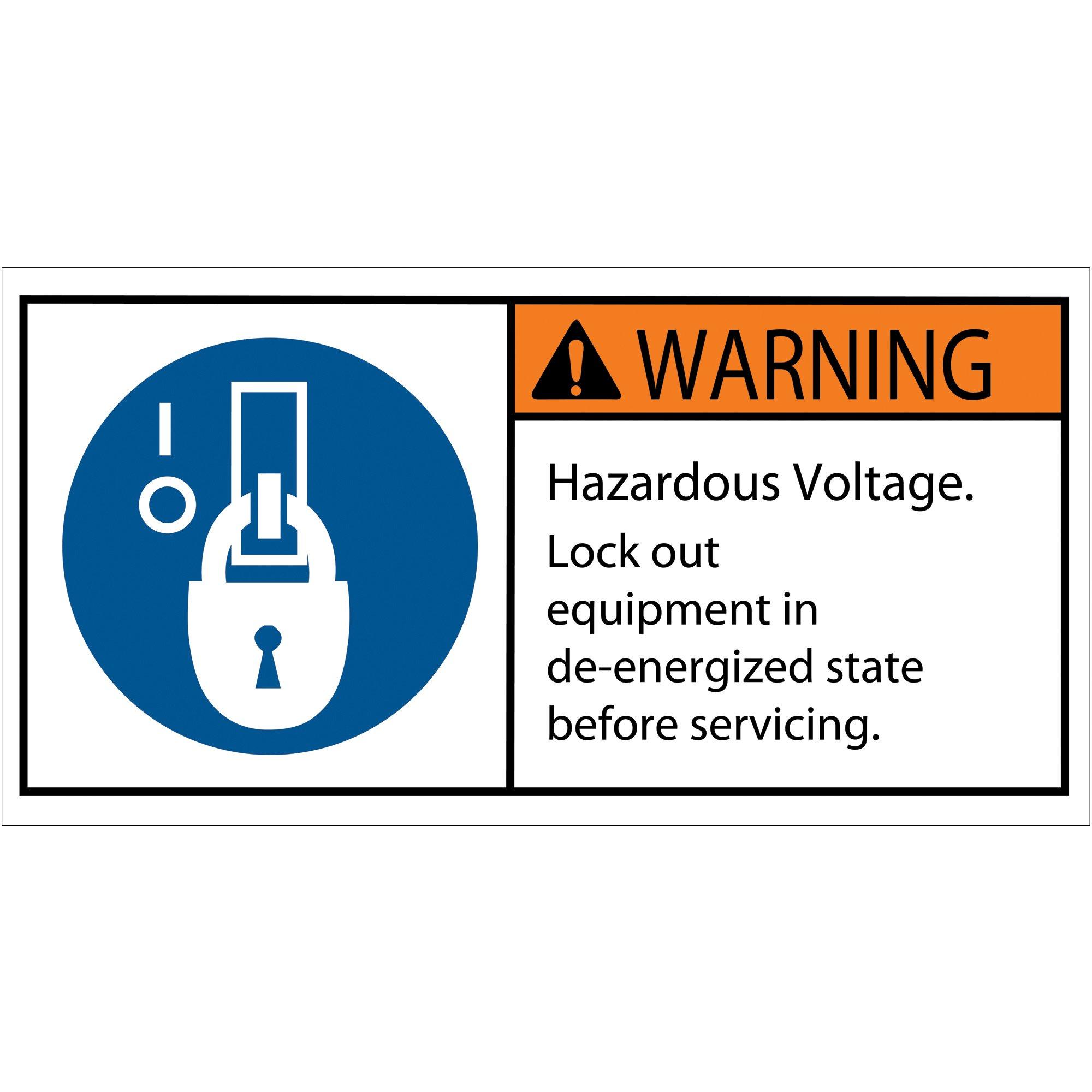 Aviditi DSL517 Tape Logic Warning Hazardous Voltage Durable Safety Label, 2'' x 4'', Multi-Color (1 Roll of 25 Labels)