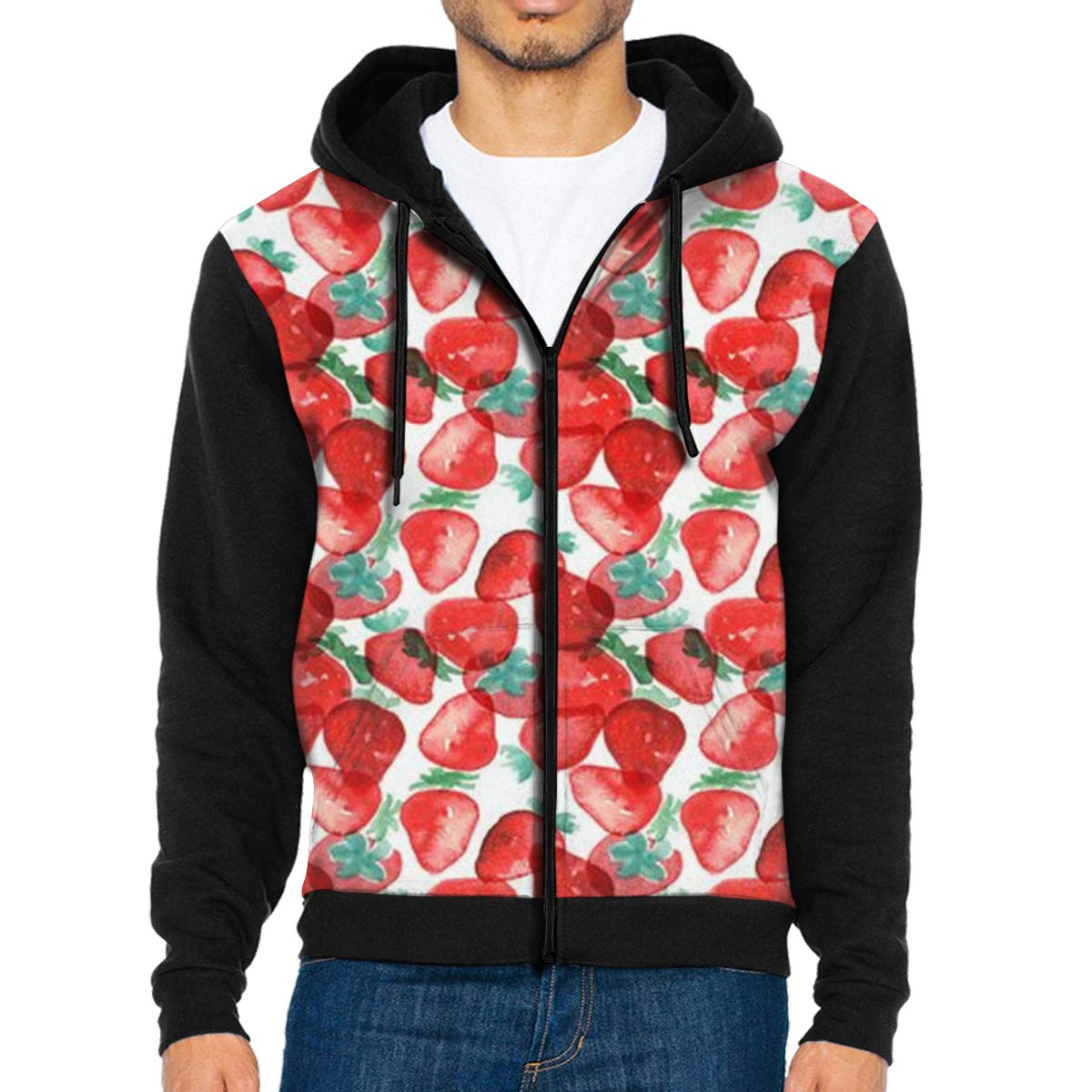 MHBGMYES Strawberry Lightweight Mans Jacket with Hood Long Sleeved Zippered Outwear