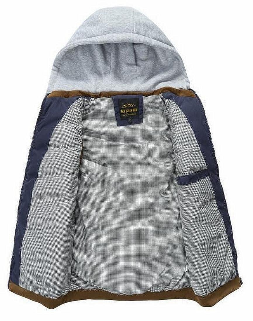 Fensajomon Mens Winter Casual Hoodie Down Vest Puffer Sport Jacket Coat Outwear Blue M