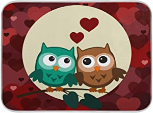 Cute Owls Valentines Dish Drying Mat Red Hearts Kitchen Decor Birds on Tree Dry Pad 18x24 inch Red Hearts Super absorbent Double Sides Drying Mats for Kitchen Countertops Sinks