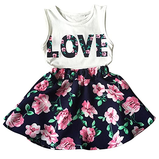329f05d4b41 Amazon.com  Little Girls Letter Love Flower Clothing Sets Summer Top and  Skirt Kids 2pcs Outfits  Clothing