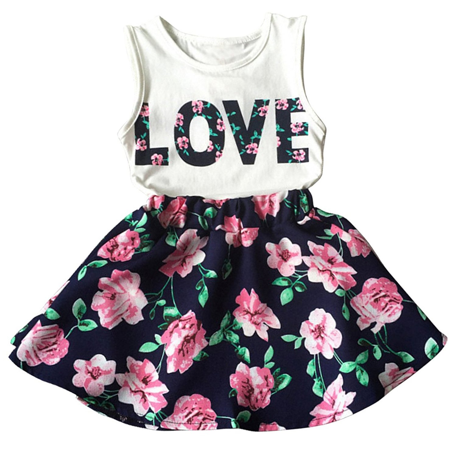 Avidqueen Little Girls Letter Love Flower Clothing Sets Summer Top and Skirt Kids 2pcs Outfits (White+Navy, 3T(3-4Years))