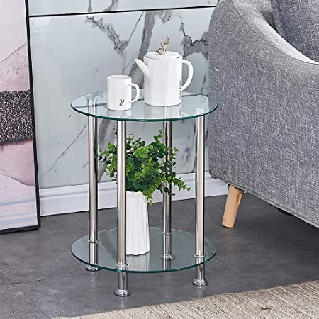 Huisen Furniture Living Room Clear Glass Coffee Table Small Side End Table Round Sofa Modern Tea Table With Storage 2 Tiers Clear Round Table Amazon Co Uk Kitchen Home