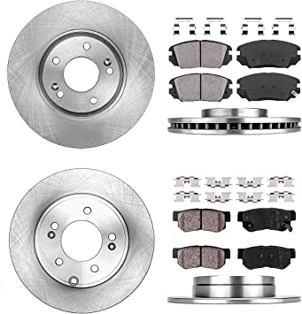For 2008 Hyundai Sonata Hart Brakes Front Rear Low Dust Ceramic Brake Pads