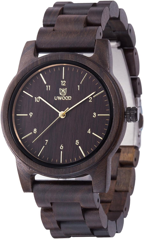 Reloj de madera UWOOD hombre mujer reloj de pulsera 40 mm vintage relojes de madera natural