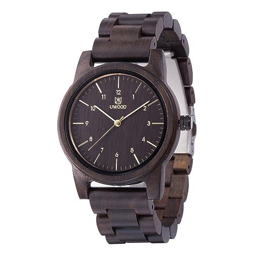 Herren Damen Armbanduhr Holz UWOOD uhren aus holz Japan-Quarzwerk 40mm Unisex Holz Uhr Holz Armbandu...