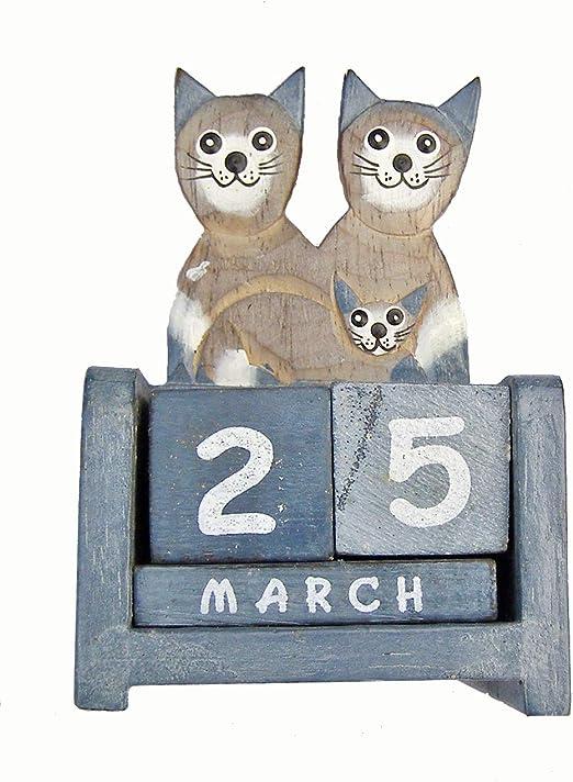 Cornwall Art Prints - Calendario perpetuo, diseño de Familia de Gatos, artículo de Madera de Comercio Justo, Color Azul: Amazon.es: Hogar