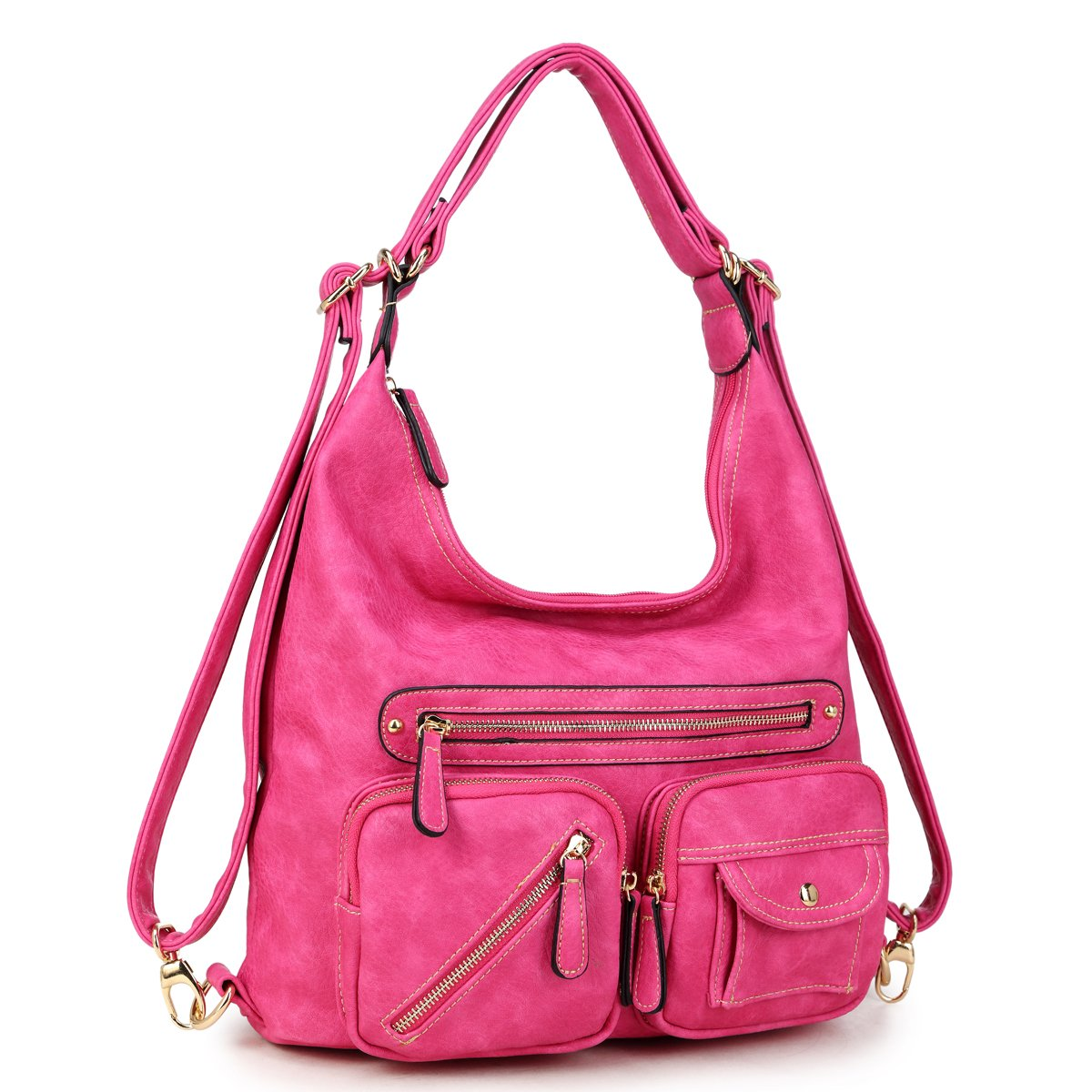 Women Large Hobo Tote Bag Leather Shoulder Bag Ladies Handbags Zipper Pockets Hot Pink