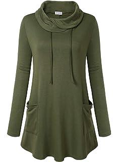 a0c27026e Bulotus Women's Long Sleeve Cowl Neck Asymmetrical Hem Tunic Tops ...