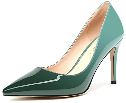 96a9cf6e51a ROSEIDOL Women's Pointed Toe Slip On High Heels Ladies Office Business Work  Pumps Stylish Dress Stiletto Shoes 3.3 in