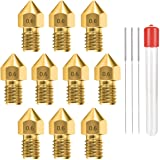 0.6MM MK8 Ender 3 Nozzles 10 pcs 3D Printer Brass Nozzles Extruder for Makerbot Creality CR-10 with 3 Needles and Metal Stora