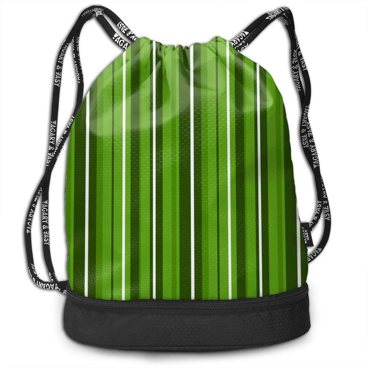 Candy Cane Stripes Green White Drawstring Backpack Sports Athletic Gym Cinch Sack String Storage Bags for Hiking Travel Beach
