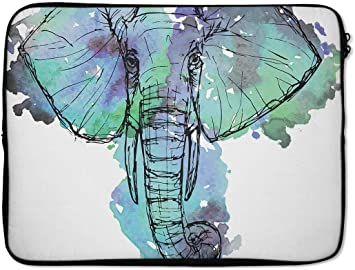 "EmbraceCase Ink-Fuzed Neoprene Laptop Sleeve with African Sketch Elephant 17/"""