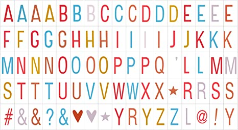 Extra Pack of Letters Numbers Symbols Emicons for A4 A5 Cinematic LIGHT Box