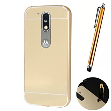 LXHGrowH Funda Espejo Aluminio Metal Carcasa para Motorola Moto G4 / G4 Plus Color Oro