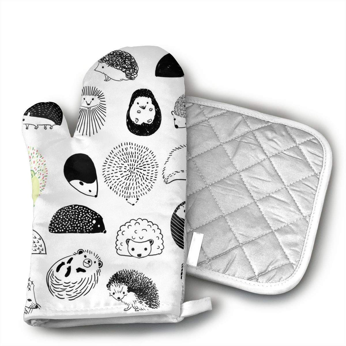 Cute Hedgehog Oven Mitts and Pot Holders Set with Polyester Cotton Non-Slip Grip, Heat Resistant, Oven Gloves for BBQ Cooking Baking, Grilling