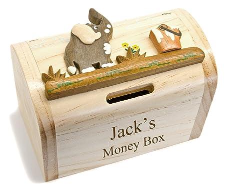 Personalised Elephant Wooden Money Treasure Box With Secret Lock